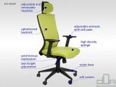 Scaun de birou rotativ, ergonomic, pivotant, HG-0004F verde
