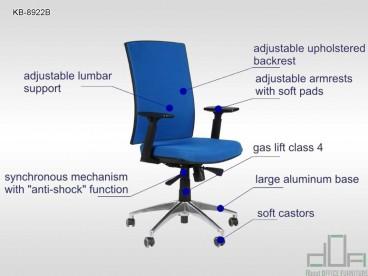 Scaun de birou ergonomic, rotativ KB-8922B albastru